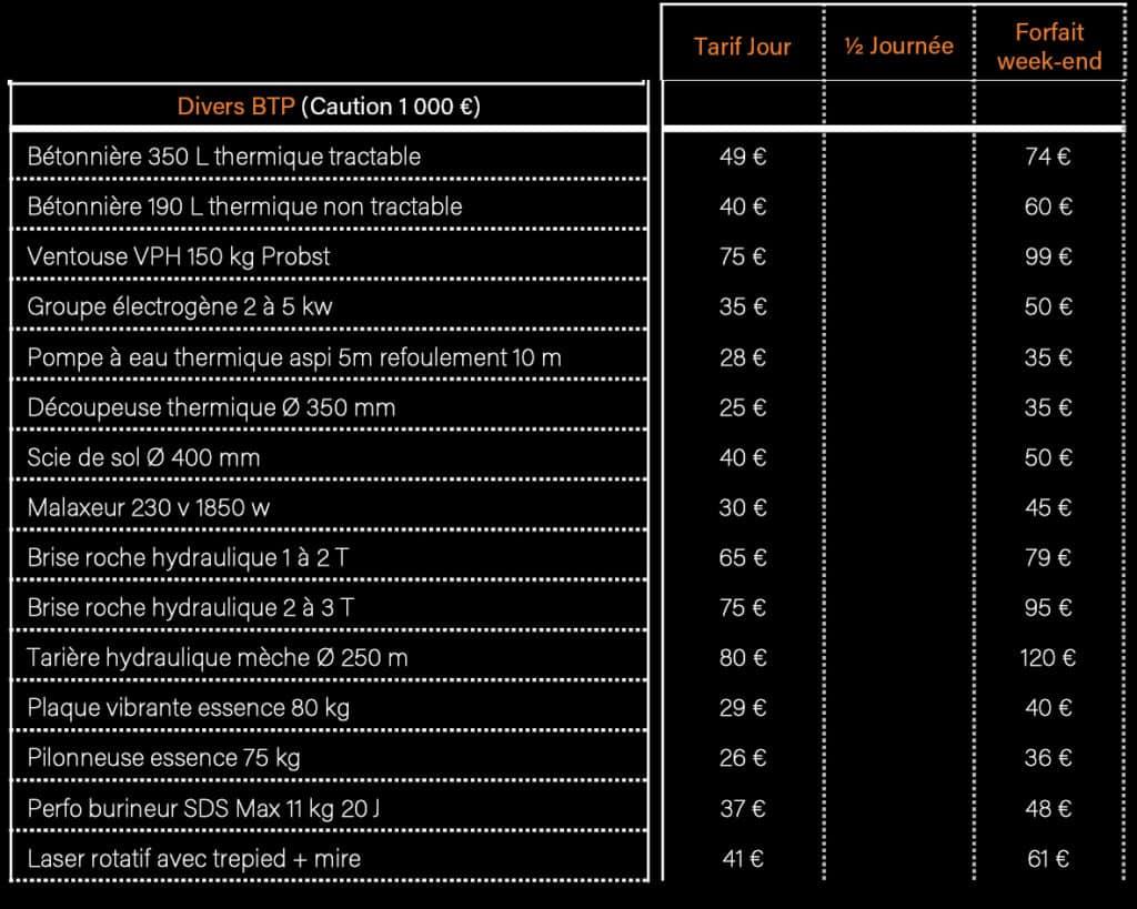 AVM Vigneux de Bretagne - Tarifs Location matériel et équipements BTP