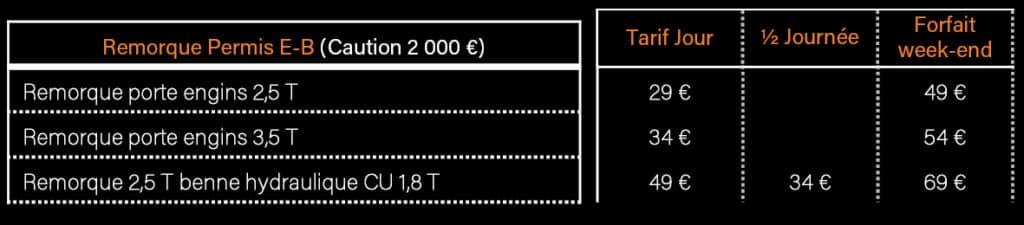 AVM Vigneux de Bretagne - Tarifs Location remorque permis E-B